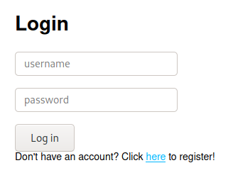 Screenshot of the admin login form